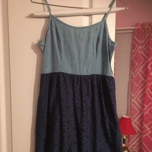 Mossimo Denim and Lace Dress, Cute Navy Jumper L